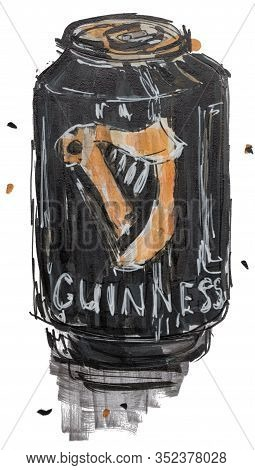 Moscow, Russia - February 22, 2020: Guinnes Beer Can Hand Drawn Marker Sketch Illustration Isolated