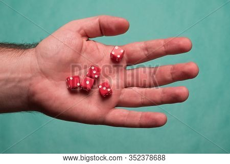 Human Hand With Dice. Set Of Dice. Dice In A Male Hand.