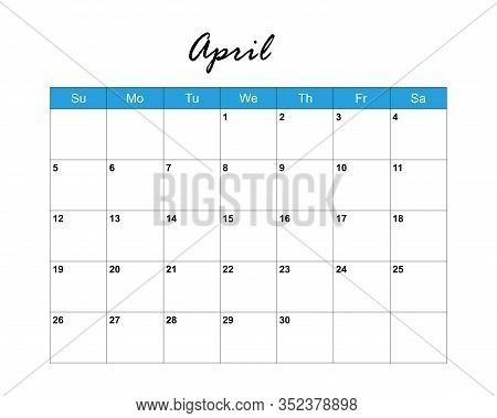 April. Calendar Planner 2020, Week Starts On Sunday. Part Of Sets Of 12 Months. Wall Desk Calendar V