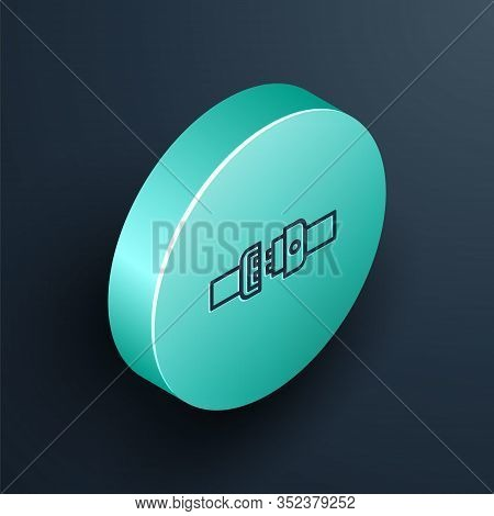 Isometric Line Safety Belt Icon Isolated On Black Background. Seat Belt. Turquoise Circle Button. Ve