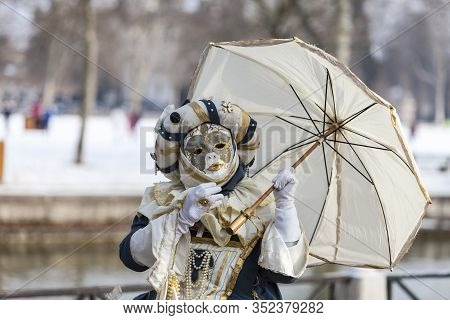 Annecy, France, February 24, 2013: Image Of A Disguised Person Posing In Annecy, France, During A Ve