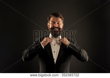 Perfect Groom. Bearded Man With Bow Tie. Well Dressed Scrupulously Neat. Hipster Formal Suit Tuxedo.