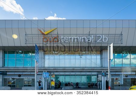 Budapest, Hungary - February 2020: Ferenc Liszt International Airport Budapest Exterior Architecture