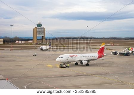 Budapest, Hungary - February 2020: Iberia Airlines Aircraft On Runway Of Budapest Ferenc Liszt Inter