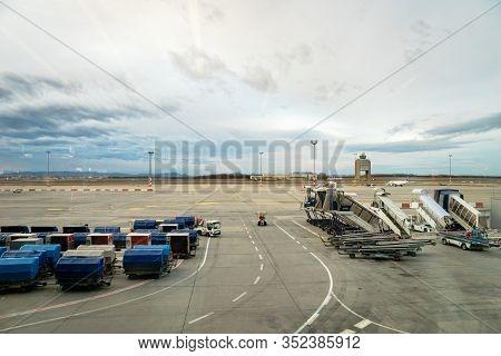 Budapest, Hungary - February 2020:  Ferenc Liszt International Airport Budapest Runway View. Ferenc