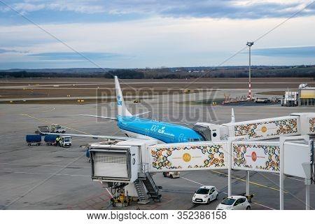 Budapest, Hungary - February 2020: Klm Aircraft On Runway Of Budapest Ferenc Liszt International Air