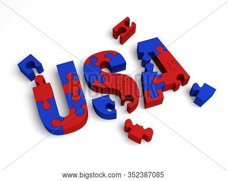 3d Illustration Of Red And Blue Puzzle Pieces Partially Assembled To Spell,
