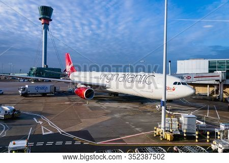 London, United Kingdom - February 2020: Virgin Atlantic Aircraft On Runway Of London Heathrow Airpor
