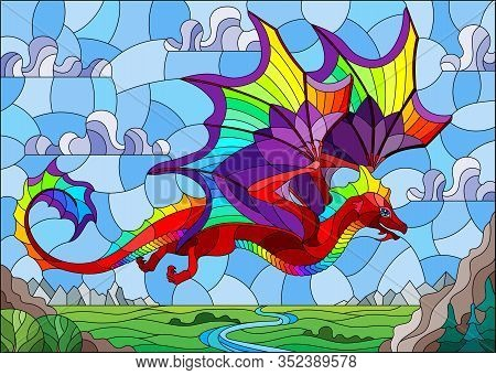 Illustration In Stained Glass Style With Bright Dragon On Landscape And Blue Sky Background