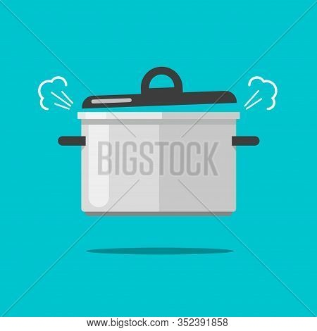 Cooking Food In Coiling Pan Or Hot Saucepan With Steam Or Vapor Isolated Vector Flat Cartoon Illustr