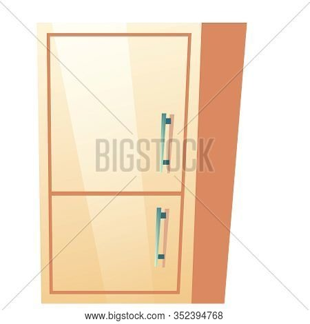 Bathroom Cabinet With Closed Door. Vector Fridge With Freezer For Kitchen. Cartoon Illustration Of R