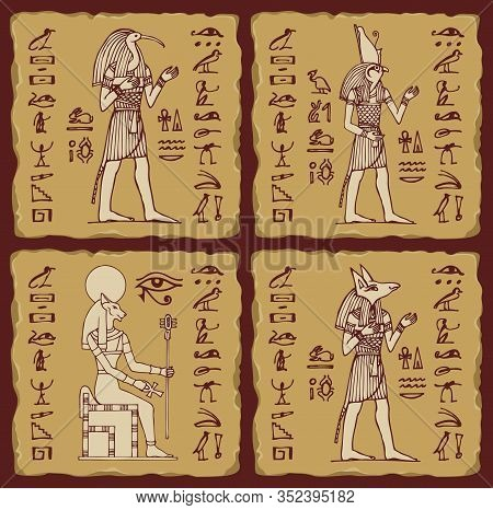 Set Of Vector Banners In The Form Of Ceramic Tiles With Hieroglyphs And Egyptian Gods. Illustrations