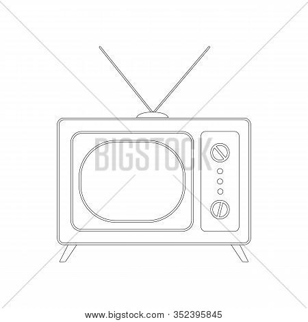 Vintage Tv ,vector Illustration,  Lining Draw,front View Retro