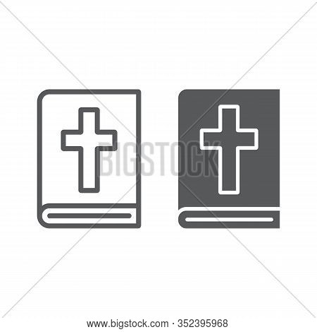 Holy Bible Line And Glyph Icon, Religion And Prayer, Holy Book Sign, Vector Graphics, A Linear Patte