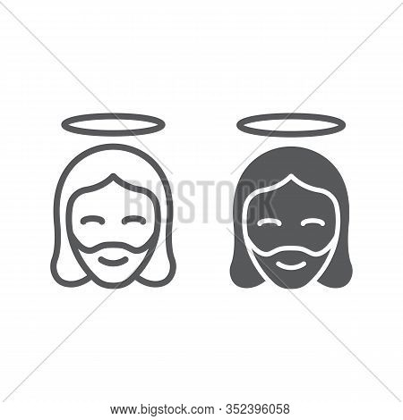 Jesus Christ Man Line And Glyph Icon, Religion And Prayer, Jesus Sign, Vector Graphics, A Linear Pat