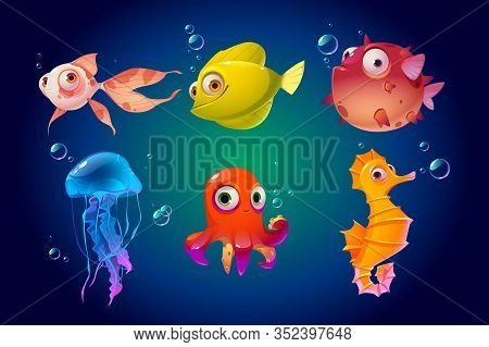 Cute Sea Animals, Fish, Octopus, Jellyfish. Vector Cartoon Characters In Ocean. Funny Underwater Cre