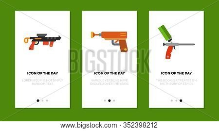 Game Gun Flat Icon Set. Virtual, Arrow, Silicon Isolated Vector Sign Pack. Equipment And Entertainme