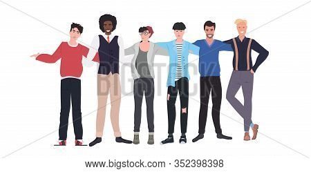Mix Race Men Standing Together Male Cartoon Characters Embracing Full Length Flat Horizontal Vector