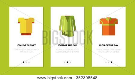 Cardigan And Shirts Flat Icon Set. Apparel, Outerwear, Clothes Isolated Vector Sign Pack. Clothing A