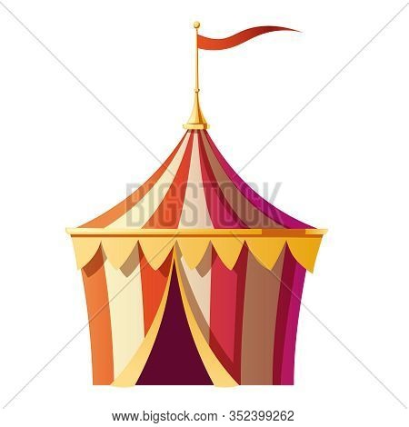 Circus Tent With Red And White Stripes On Carnival Funfair, Amusement Park. Vector Cartoon Icon Of S