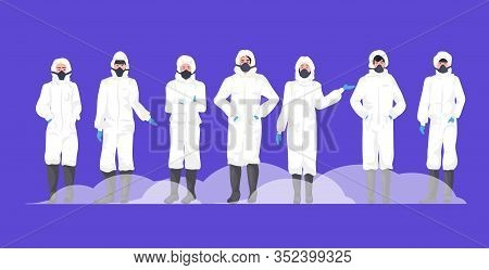 People Group In Hazmat Suits And Protection Masks To Prevent Epidemic Mers-cov Wuhan Coronavirus 201