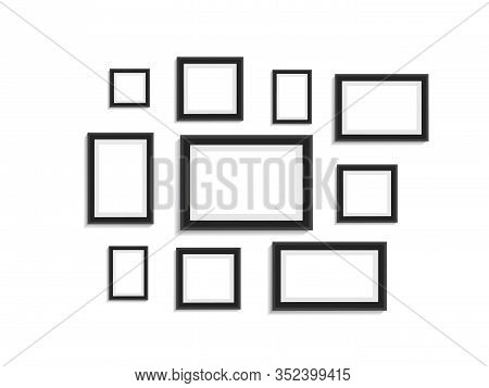 Photo Frame For Picture On Wall. Empty Black Picture Album Layout. Design Template Picture Frame On