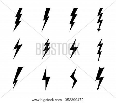 Lightning Bolt Icon. Electric Power Arrow, Thunderbolt Strike. Black Voltage Sign. Danger Concept. T