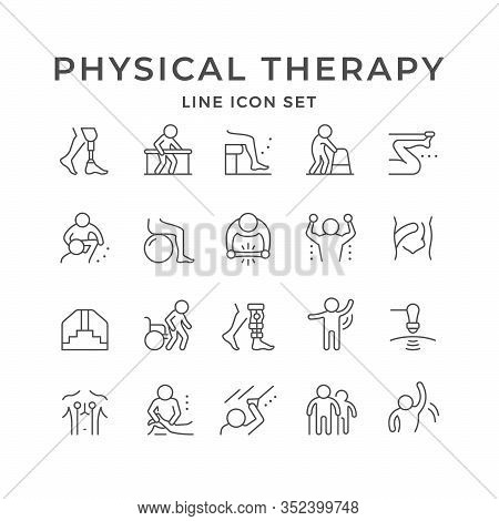 Set Line Icons Of Physical Therapy Isolated On White. Health Rehabilitation, Physiotherapy Exercise,