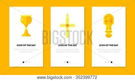 Golden Artefact Flat Icon Set. Gold, Cultural, Sacral Isolated Vector Sign Pack. Religious And Metal