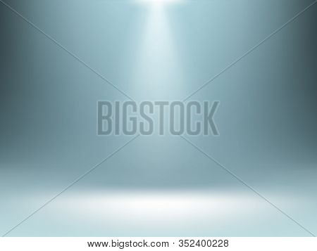 Grey Gradient Background With Spotlights Illumination, Empty Studio Room Backdrop, Stage For Product