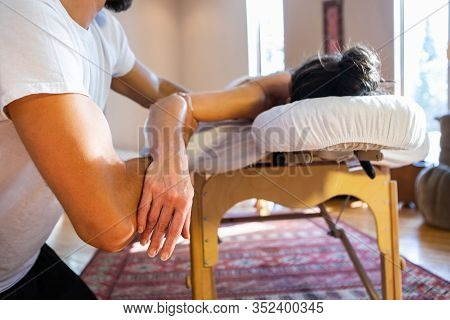 Massage And Body Care. Therapeutic Spa Body Massage. Young Woman Getting Relaxing Natural Body Massa