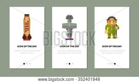 Tradition Symbols Flat Icon Set. Gayageum, Pomos Idol, Norwegian Troll Isolated Vector Sign Pack. Co