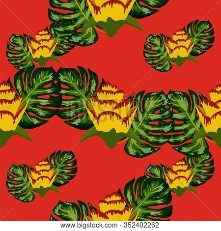 Summer Seamless Tropical Pattern With Bright Yellow Flower And Leaves. Print With Hand Drawn Exotic