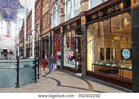 Leeds, Uk - July 11, 2016: People Visit Shops Of Victoria Quarter In Leeds, Uk. The Arcaded Streets