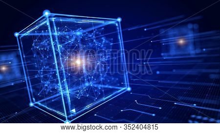 Block chain concept - Block cube and network connections . 3d rendering