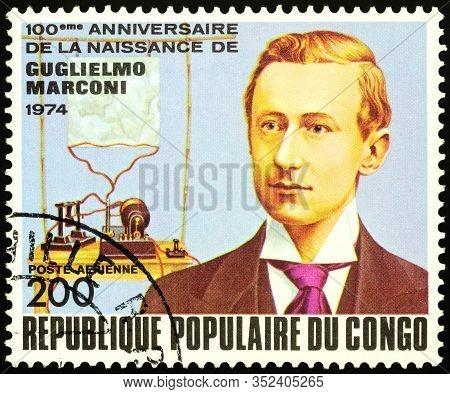 Moscow, Russia - February 22, 2020: Stamp Printed In Congo, Shows Guglielmo Marconi (1874-1937), Ita