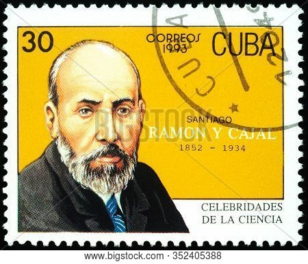 Moscow, Russia - February 24, 2020: Stamp Printed In Cuba, Shows Santiago Ramon Y Cajal (1852-1934),