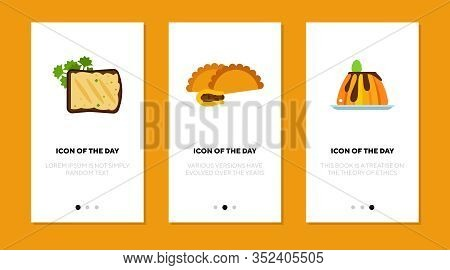 Munchies Flat Icon Set. Meal, Brief, Lunch Isolated Vector Sign Pack. Production And Food Concept. V