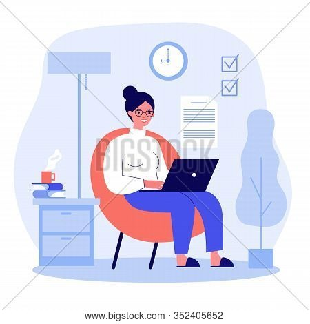 Happy Freelance Worker Working With Laptop At Home. Woman Sitting In Armchair, Using Computer. Vecto