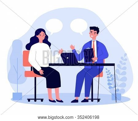 Candidate And Hr Manager Having Job Interview. Business Man And Woman Meeting At Table, Talking With