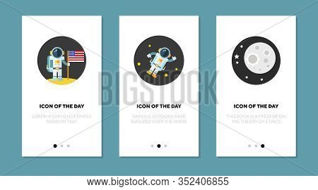 Astronaut In Space Flat Icon Set. Spaceman, Universe, Weightlessness Isolated Vector Sign Pack. Cosm