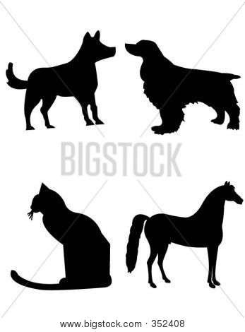 Dog Cat Horse Shilouttes