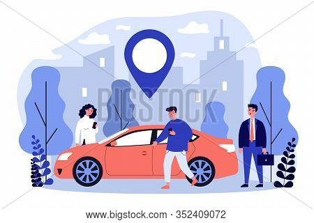 Commuters Sharing Car In City. People Searching Vehicle With Location Pointer. Vector Illustration F