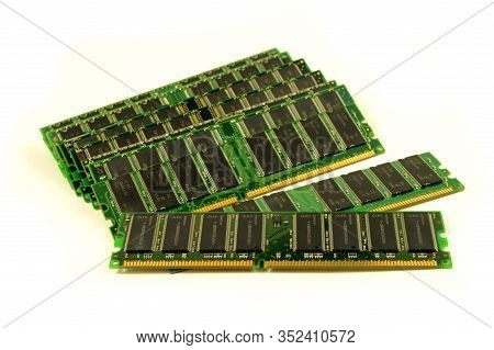An Isolated Pile Of Computer Ram Over A White Background.