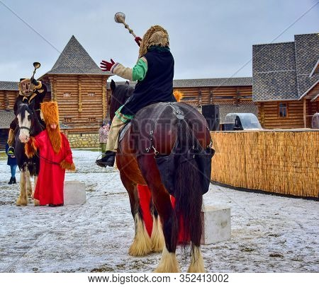 Trumpeters In Suits On Horseback. Safari Park. Kudykina Mountain. Lipetsk Region. Russia. January 20