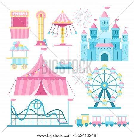 Amusement Park Attractions Flat Vector Illustrations Set. Cartoon Ferris Wheel, Roller Coaster And T