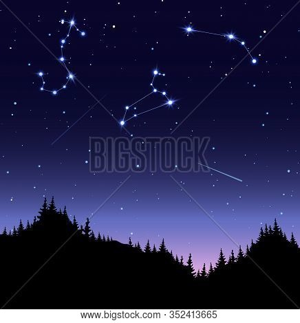 Zodiac Constellations Flat Vector Illustration. Scorpio, Leo And Aries In Starry Sky. Nighttime, Dar