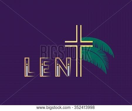 Church Religious Lent Symbols Flat Color Vector Background. Christian Cross, Candle, Palm Cartoon. C