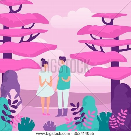 People And Nature Flat Vector Illustration. Outing, Outdoor Recreation, Family Walk. Young Couple In