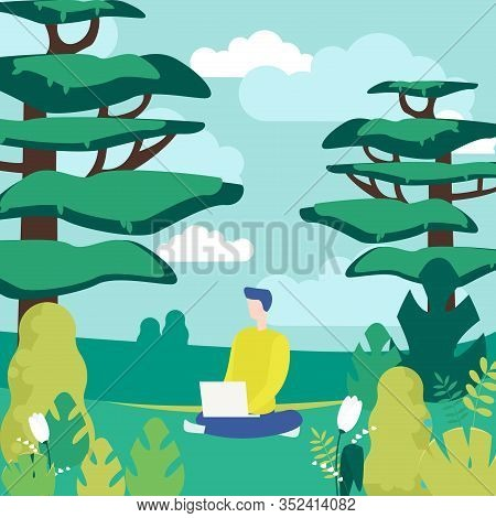 Human And Nature Flat Vector Illustration. Outing, Outdoor Leisure, Relaxation. Young Man With Lapto